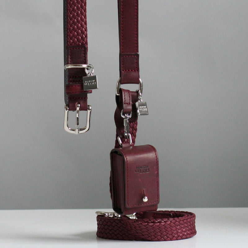 Maison Le Lou Luxury designer dog lead - Brady Wine