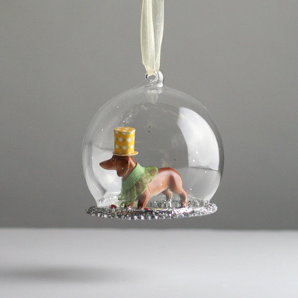 Glass Globe Dachshund Christmas Tree Decoration