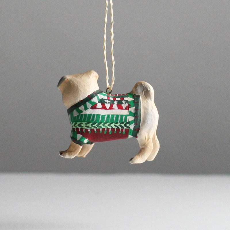 Fawn Pug in Sweater Christmas Decoration