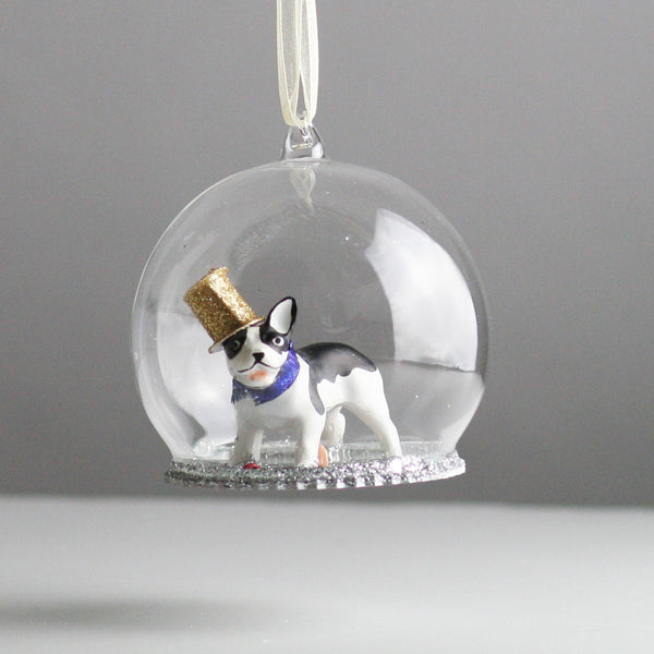 Glass Globe French Bulldog Christmas Tree Decoration