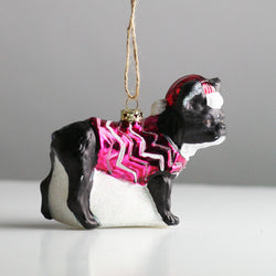 Blown Glass Festive Frenchie Christmas Tree Decoration