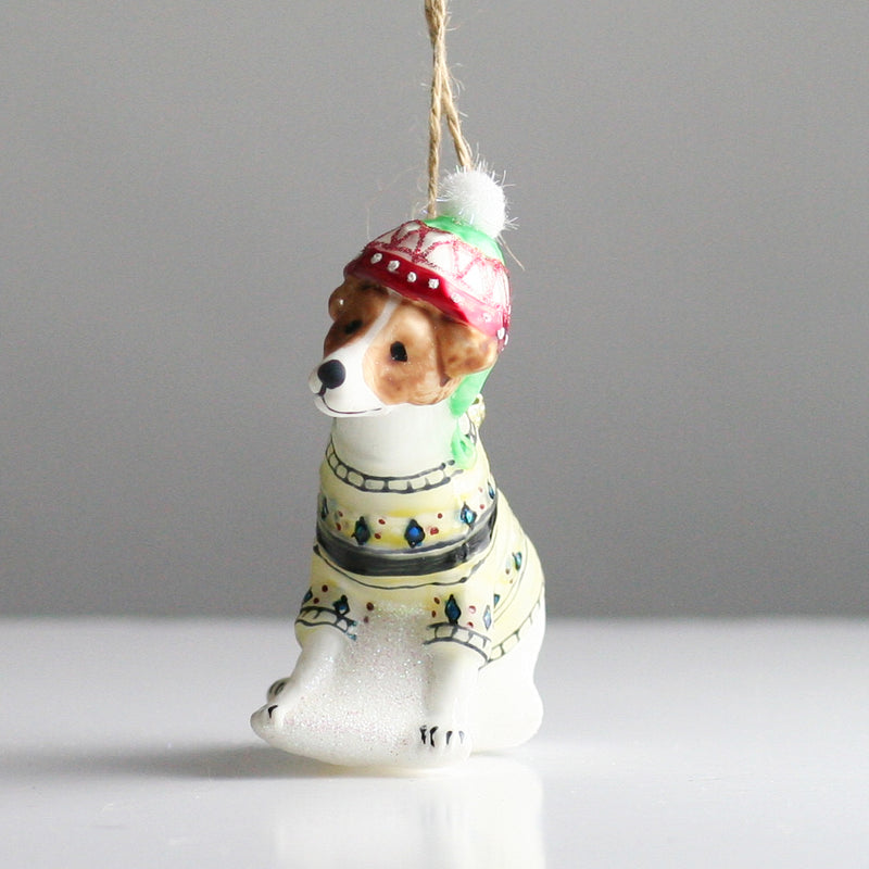 Blown Glass Festive Jack Russell Christmas Tree Decoration