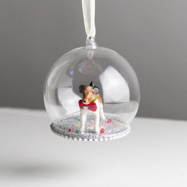 Glass Globe Jack Russell Dog Christmas Tree Decoration