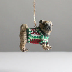 Newsprint Pug in Sweater Christmas Decoration