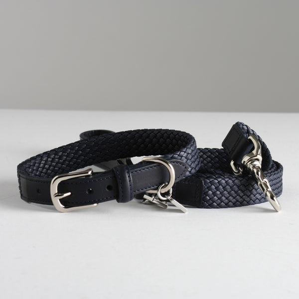 Maison Le Lou Luxury designer dog lead - Brady Navy