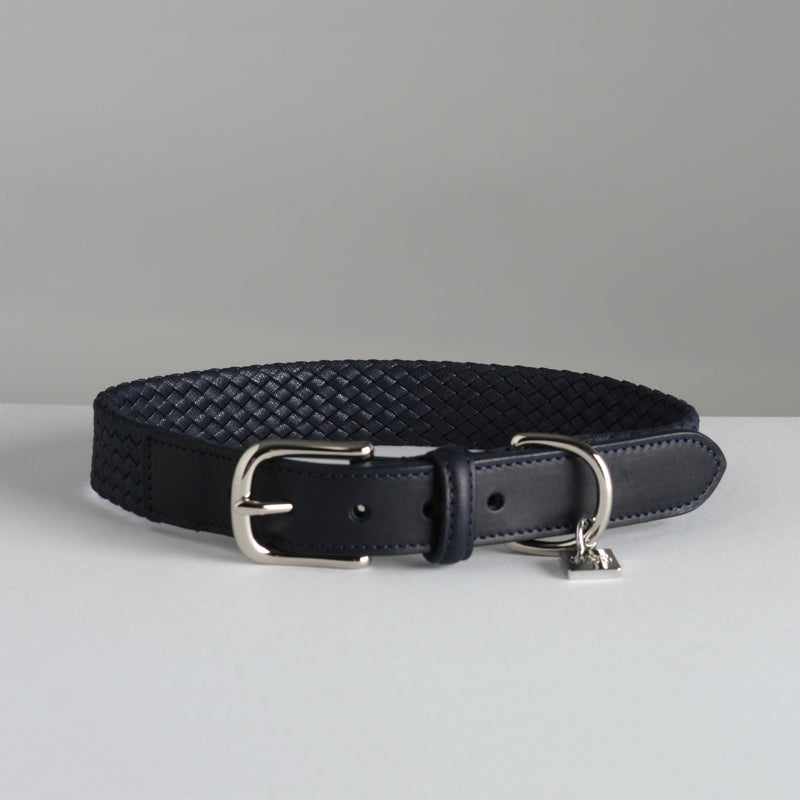 Maison Le Lou Luxury Dog Collar Bernard Navy