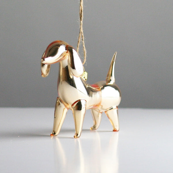 Gold Blown Glass Dog Christmas Tree Decoration