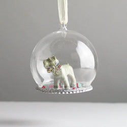 Glass Globe Miniature Schnauzer Christmas Tree Decoration