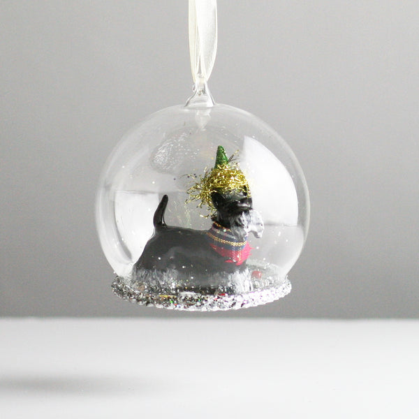 Glass Globe Scottie Dog Christmas Tree Decoration