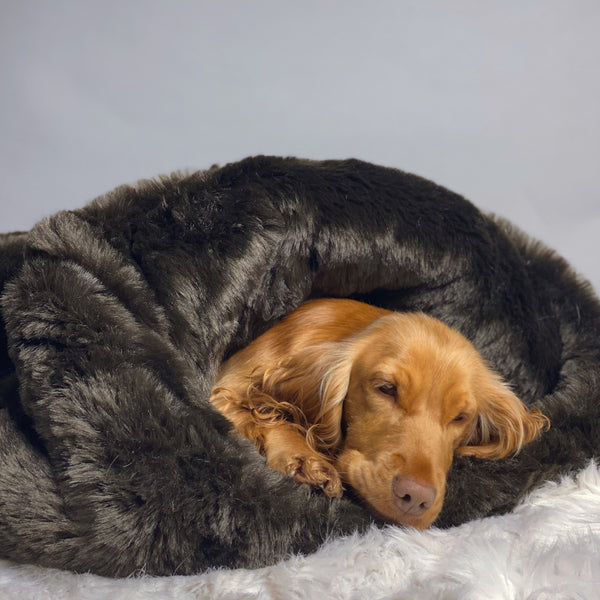 Pookie - Faux Fur Burrow Sleeping Bag - Dark Brown