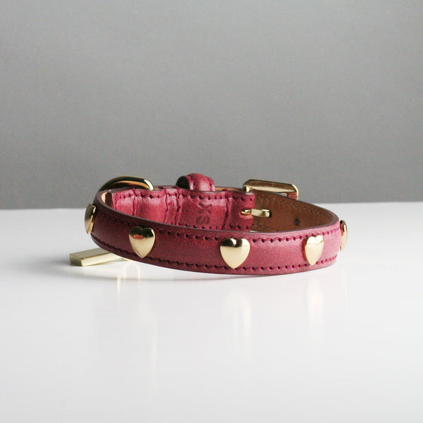Ginny Dog Collar - Raspberry Hearts