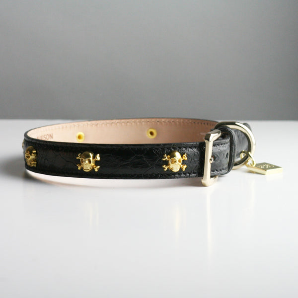 Gracie Dog Collar - Black Skull and Crossbone