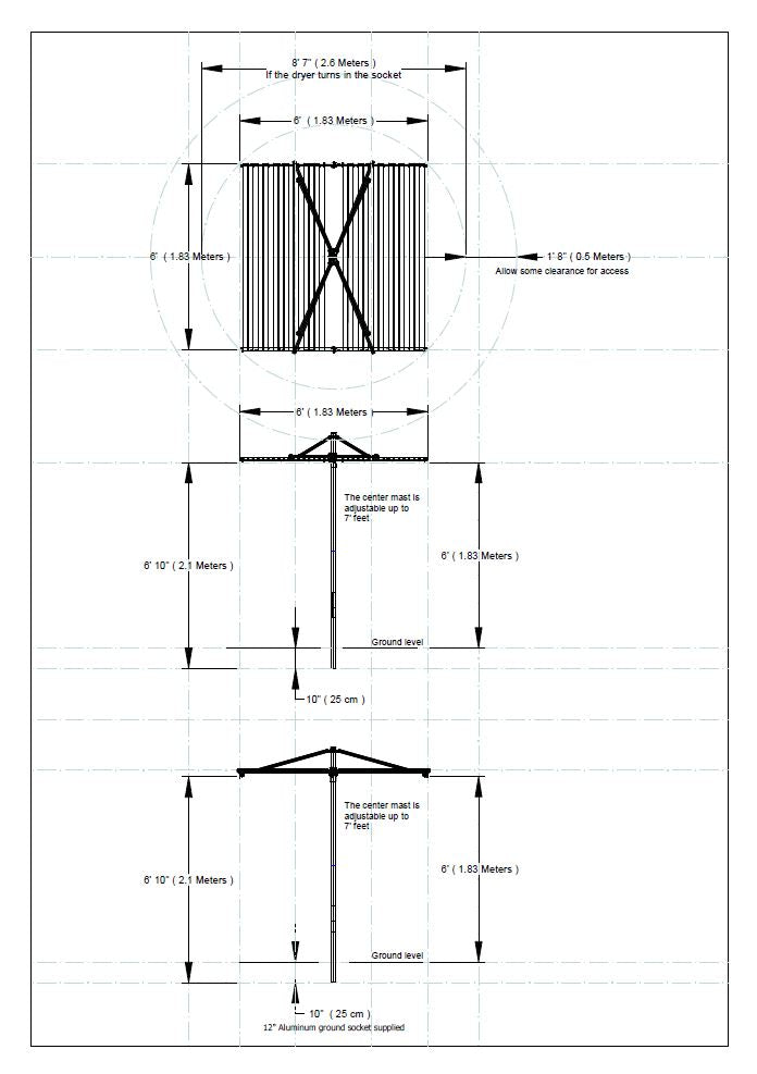 parallel clothesline measurements drawing