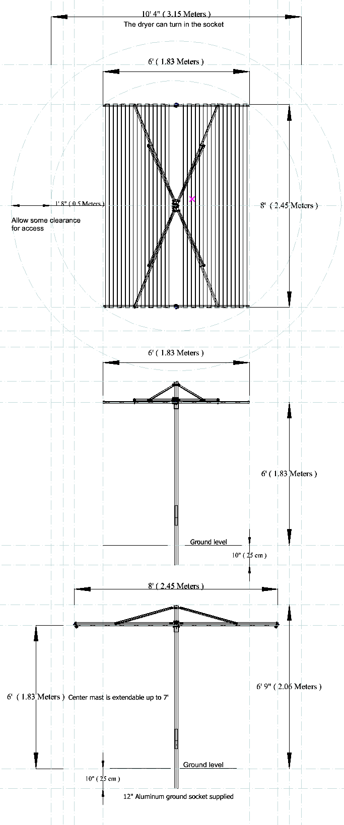 parallel clothesline measurements