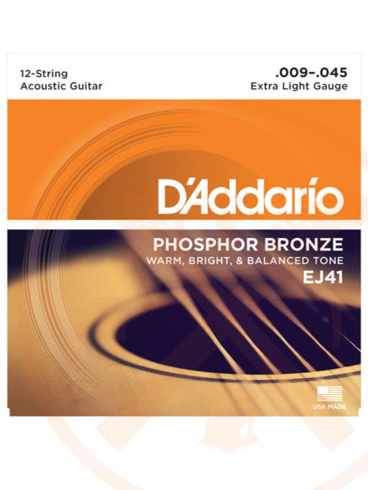 D'Addarrio EJ41 9-45 Acoustic 12 String Extra Light