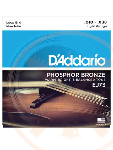 D'Addario EJ73 10-38 Mandolin Light