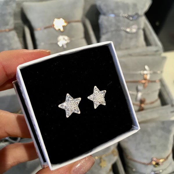 Pearl and sparkle star studs