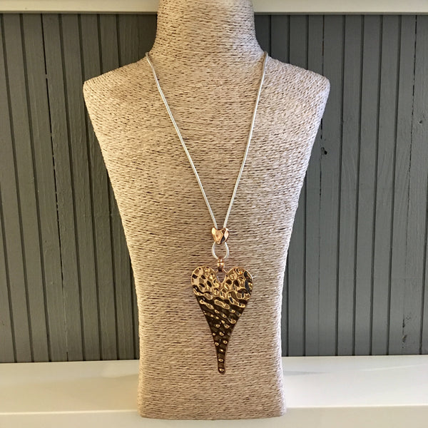 Chunky hammered heart necklace