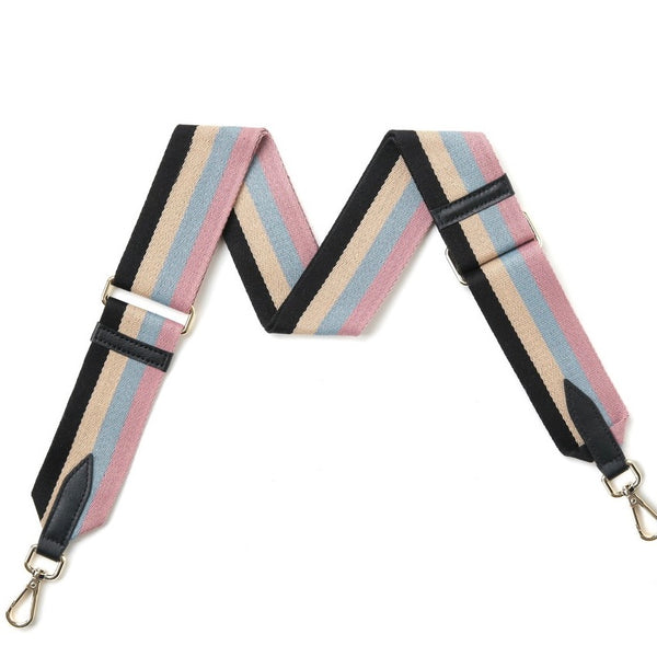 Pastel blue and pink striped bag strap