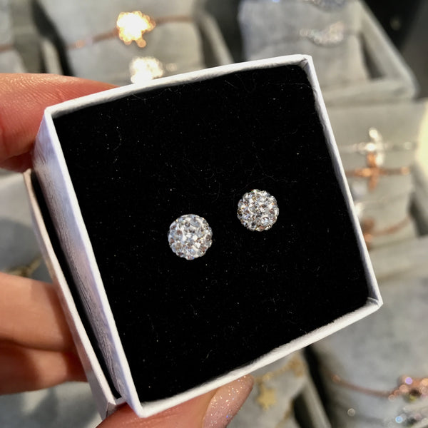Disco ball stud earrings