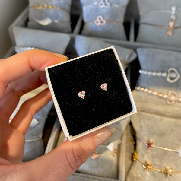 Dainty pink heart stud earrings
