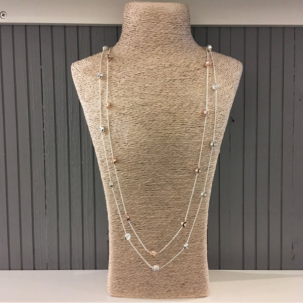 Gem stone double chain necklace