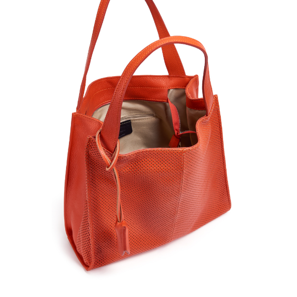 Perforated detail leather shopper