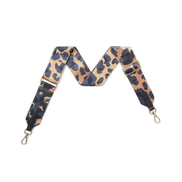 Navy animal print bag strap