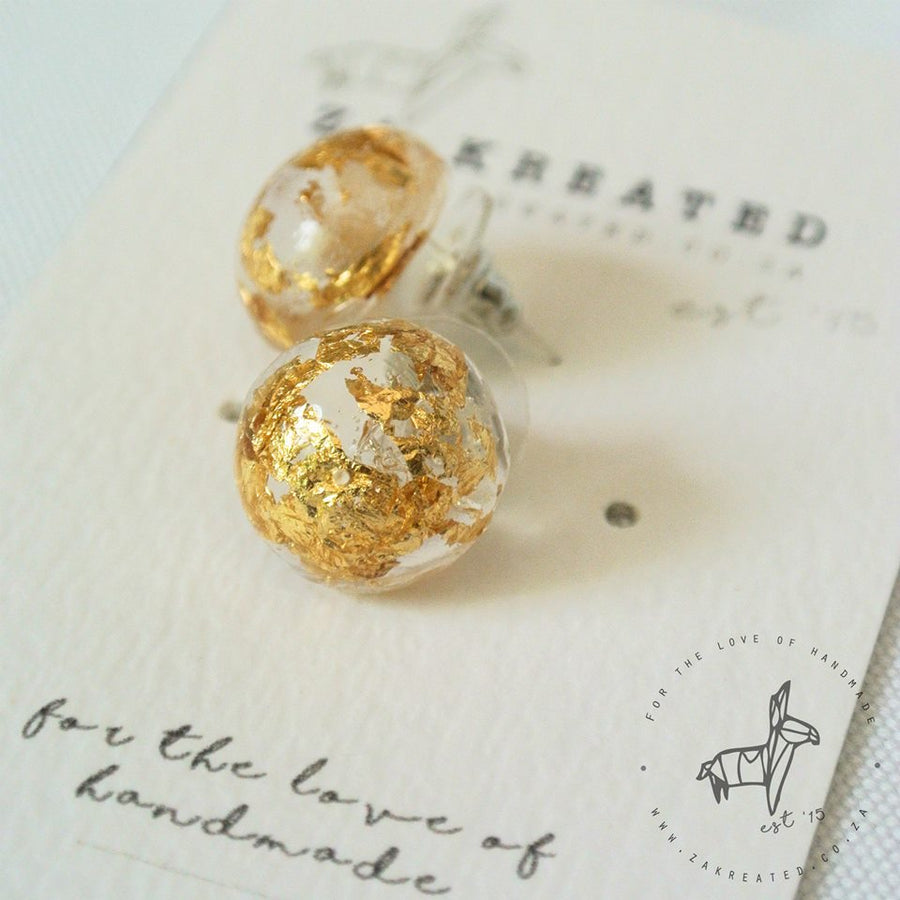 Gold Leaf Studs - Transparent