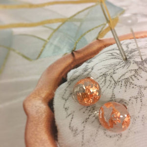 Copper Leaf Stud Earrings