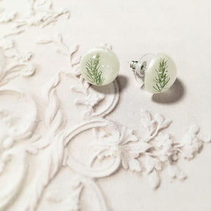 Fern in Resin Stud Earrings
