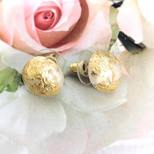 Gold Leaf Studs - Frosted