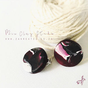 Mix Clay Studs - Maroon