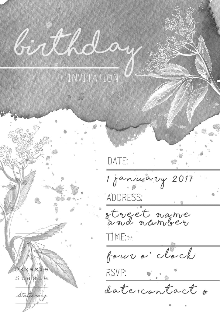 Grey Botanic - Birthday Invitation - ZA Kreated - 1