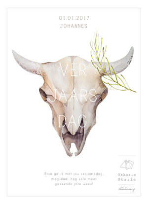 Bull Scull - Birthday Card - ZA Kreated - 1