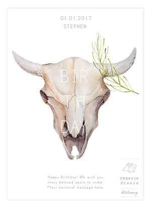 Bull Scull - Birthday Card - ZA Kreated - 2