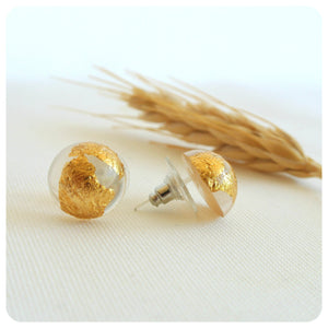 Gold Leaf Studs - Transparent - ZA Kreated - 1