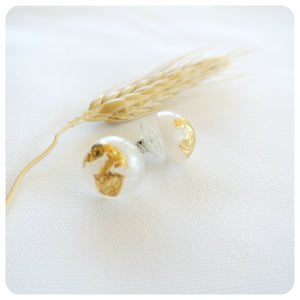 Gold Leaf Studs - Frosted - ZA Kreated - 1