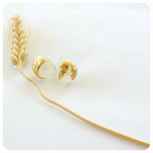 Gold Leaf Studs - Frosted - ZA Kreated - 2