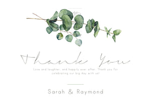 Eucalyptus - Thank You Card - ZA Kreated