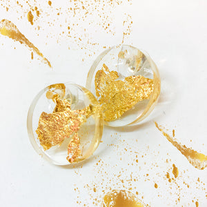 Clear Gold Leaf Stud Earrings