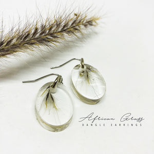 African Grass Dangle Earrings - Oval