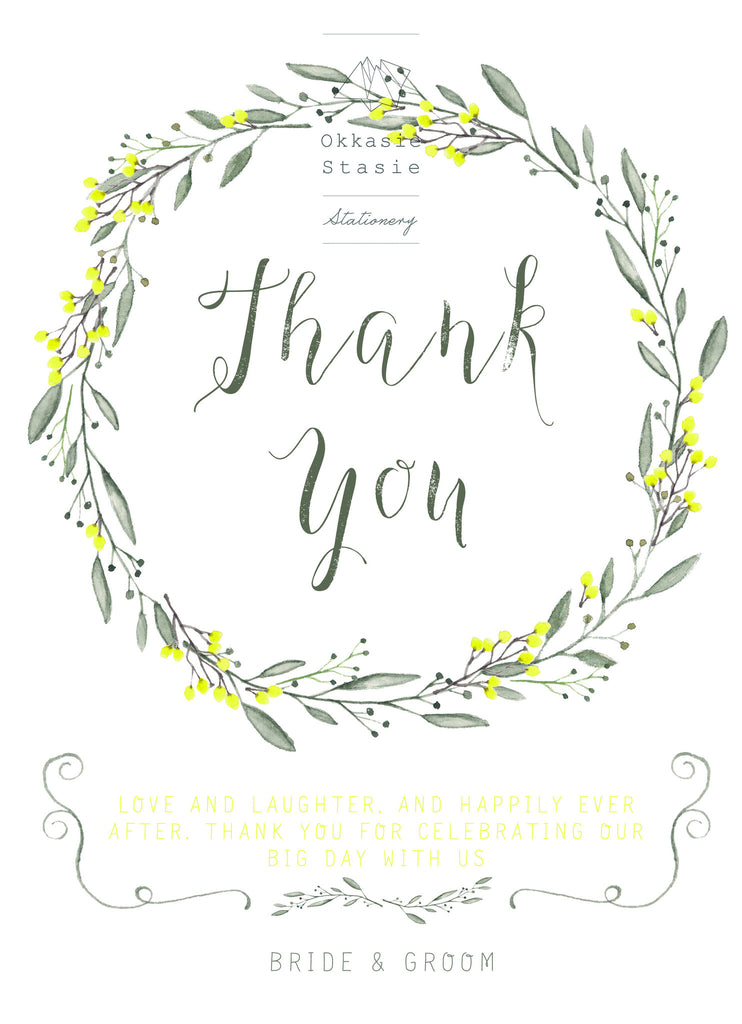 Yellow & So - Thank You Card - ZA Kreated
