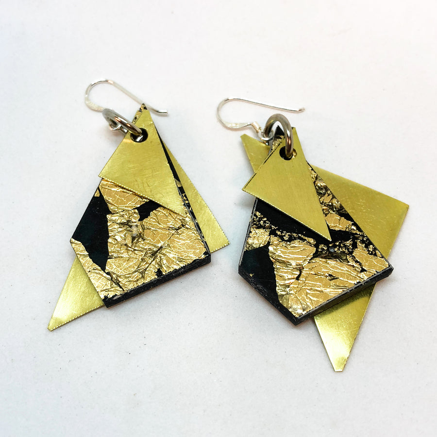 Black Geo Dangle Earrings