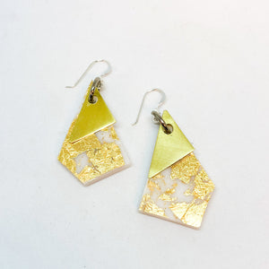 White Geo Dangle Earrings