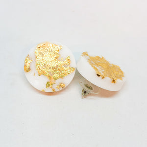 White Gold Leaf Stud Earrings