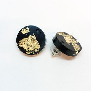 Black Gold Leaf Stud Earrings