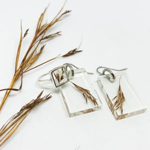African Grass Dangle Earrings - Rectangle