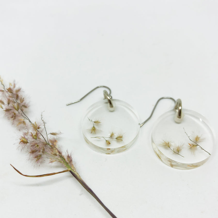 African Grass Dangle Earrings - Round