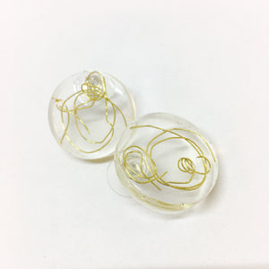 Large Round Wire Studs - Gold